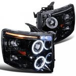 2007 Chevy Silverado Smoked Halo Projector Headlights LED Eyebrow