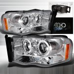 Dodge Ram 2002-2005 Chrome Dual Halo Projector Headlights with LED