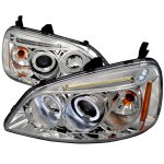 Honda Civic 2001-2003 Clear Halo Projector Headlights with LED
