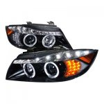 BMW E90 Sedan 3 Series 2006-2008 Smoked Projector Headlights with LED Signal