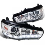 Mitsubishi Lancer 2008-2012 Chrome Projector Headlights LED DRL