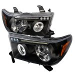 2013 Toyota Tundra Black Projector Headlights with LED Eyebrow