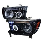 2013 Toyota Tundra Smoked Halo Projector Headlights LED Eyebrow