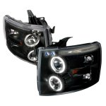 2007 Chevy Silverado Black CCFL Halo Projector Headlights with LED Eyebrow