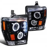2010 Ford F450 Super Duty Smoked Halo Projector Headlights with LED