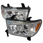 2015 Toyota Sequoia Clear Dual Halo Projector Headlights with LED