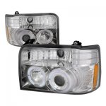 Ford F250 1992-1996 Clear Dual Halo Projector Headlights