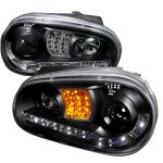 VW Golf 1999-2005 Black Projector Headlights with Amber LED Daytime Running Lights