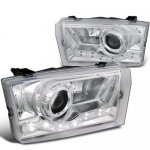 2002 Ford Excursion Chrome Projector Headlights LED DRL