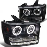 2009 GMC Sierra Black Projector Headlights Halo LED DRL