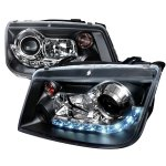 2004 VW Jetta Black Projector Headlights with LED Daytime Running Lights