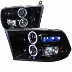 2010 Dodge Ram 3500 Black Smoked Halo Projector Headlights with LED