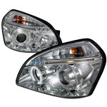 Hyundai Tucson 2005-2009 Clear Dual Halo Projector Headlights with LED