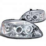 1998 Honda Civic Clear Dual Halo Projector Headlights with LED