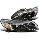 Honda Civic Sedan 2006-2011 Black Projector Headlights LED DRL