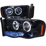 2002 Dodge Ram Smoked Dual Halo Projector Headlights with LED