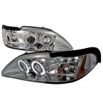 Ford Mustang 1994-1998 Clear Halo Projector Headlights with LED