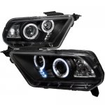 2011 Ford Mustang Black Dual Halo Projector Headlights with LED