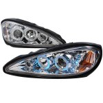 Pontiac Grand AM 1999-2005 Clear Dual Halo Projector Headlights with LED