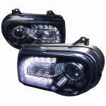 Chrysler 300C 2005-2010 Projector Headlights LED DRL Smoked