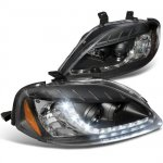 2000 Honda Civic Black Projector Headlights with LED Daytime Running Lights