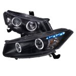 Honda Accord Coupe 2008-2012 Black Halo Projector Headlights with LED