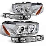2003 GMC Sierra Clear Halo Projector Headlights and Bumper Lights Set