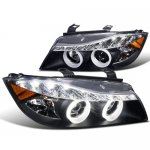2007 BMW 3 Series Sedan Black Projector Headlights Halo LED DRL
