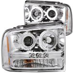 2005 Ford F350 Super Duty Clear Projector Headlights with CCFL Halo and LED