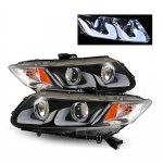 Honda Civic 2012-2013 Projector Headlights Black U-Shape Halo