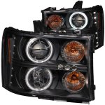 2009 GMC Sierra Black Projector Headlights with CCFL Halo and LED