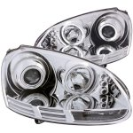 VW Rabbit 2006-2009 Projector Headlights Chrome CCFL Halo LED