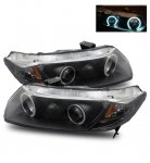 Honda Civic Coupe 2006-2011 Projector Headlights Black Halo LED