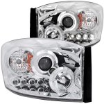 Dodge Ram 2500 2006-2009 Projector Headlights Chrome Halo LED