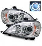 Mercedes Benz M Class 1998-2001 Projector Headlights Chrome CCFL Halo