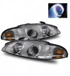 Mitsubishi Eclipse 1997-1999 Projector Headlights Chrome CCFL Halo