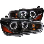 Mitsubishi Lancer 2008-2015 Projector Headlights Black CCFL Halo LED