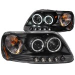 2002 Ford F150 Black Projector Headlights with CCFL Halo and LED