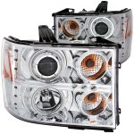 GMC Sierra 3500HD 2007-2013 Clear Projector Headlights with CCFL Halo and LED