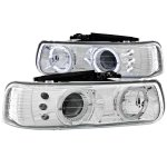 Chevy Silverado 1999-2002 Chrome Projector Headlights Halo LED