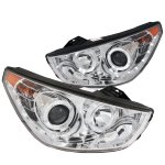 Hyundai Tucson 2010-2012 Projector Headlights Chrome Halo LED DRL