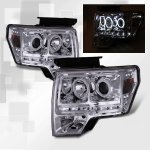 2009 Ford F150 Clear CCFL Halo Projector Headlights LED DRL
