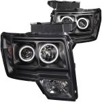 2010 Ford F150 Black Projector Headlights with CCFL Halo and LED