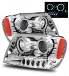 Jeep Grand Cherokee 1999-2004 Projector Headlights Chrome CCFL Halo LED