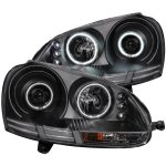 VW Rabbit 2006-2009 Projector Headlights Black CCFL Halo LED