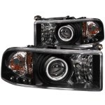 Dodge Ram 3500 1994-2001 Black Projector Headlights with CCFL Halo and LED