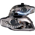 Audi A4 2006-2008 Clear Projector Headlights LED DRL