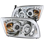 Dodge Caliber 2007-2009 Projector Headlights Chrome CCFL Halo LED Bar