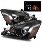 2007 Honda Accord Projector Headlights Black Halo LED DRL