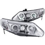 Honda Civic Coupe 2006-2011 Projector Headlights Chrome Halo LED